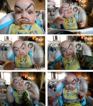 This is what happens when you leave the baby with the husband.