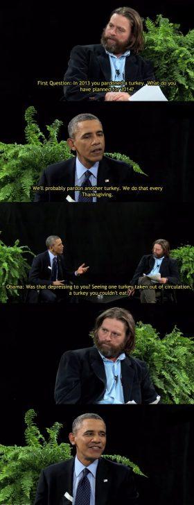 "Obama burns Zach on ""Between Two Ferns"""