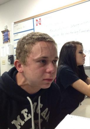Trying to hold a fart next to a cute girl in class