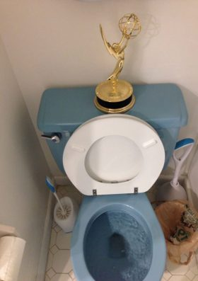 Someone won an Emmy and here's where he keeps it.