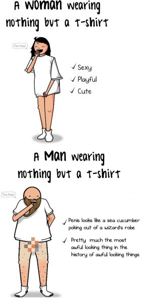 Wearing nothing but a T-shirt