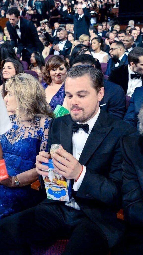The way Leonardo DiCaprio looks at his cookie